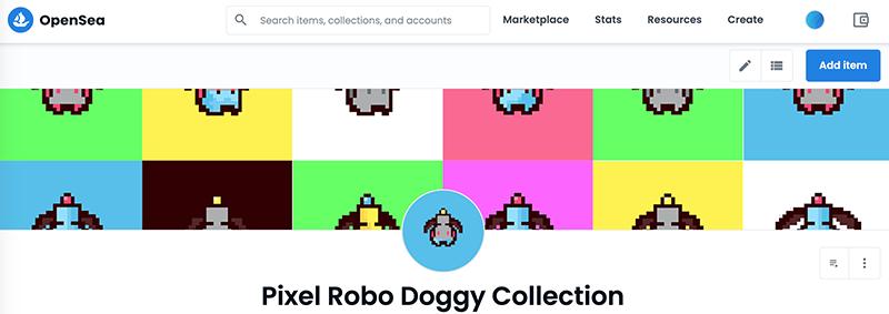Open Sea Pixel Robo Doggy Collection Header